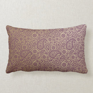 Purple Paisley on Gold Background Throw Pillow