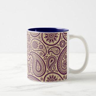 Purple Paisley on Gold Background Two-Tone Coffee Mug