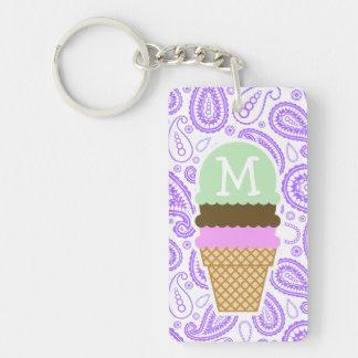 Purple Paisley Pattern; Ice Cream Cone Keychain