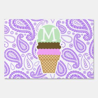 Purple Paisley Pattern; Ice Cream Cone Sign