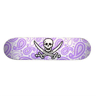 Purple Paisley Pattern Jolly Roger Pirate Skate Boards