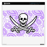 Purple Paisley Pattern Jolly Roger; Pirate Decal For MacBook