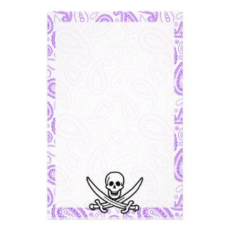 Purple Paisley Pattern Jolly Roger Pirate Custom Stationery