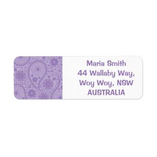 Purple paisley pattern label