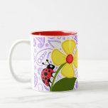 Purple Paisley Pattern; Ladybug Coffee Mug