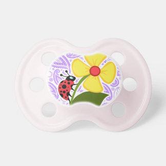 Purple Paisley Pattern; Ladybug Baby Pacifiers