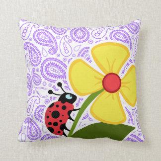 Purple Paisley Pattern; Ladybug Throw Pillow