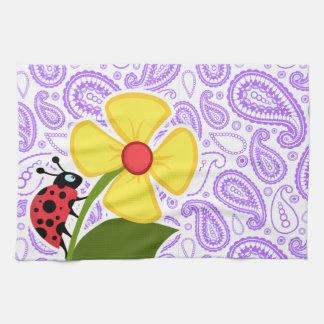 Purple Paisley Pattern; Ladybug Towel