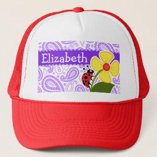 Purple Paisley Pattern; Ladybug Trucker Hat