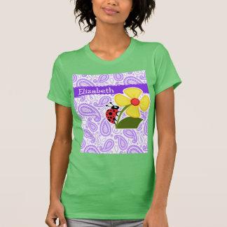 Purple Paisley Pattern; Ladybug Shirt