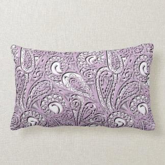 Purple paisley pattern lumbar pillow
