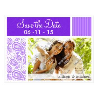 Purple Paisley Pattern Post Cards