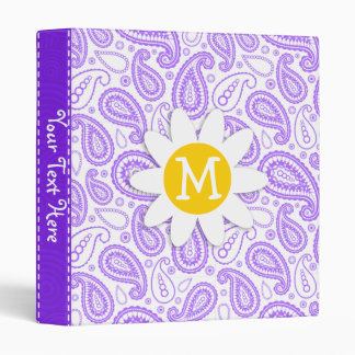 Purple Paisley Pattern; Spring Daisy 3 Ring Binder
