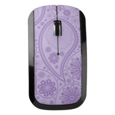 Purple Paisley Pattern Wireless Mouse at Zazzle