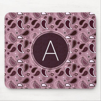 Purple Paisley Pattern with Monogram Mouse Pad