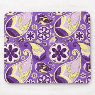 Purple Paisley Patterned Purple Background Mousepad