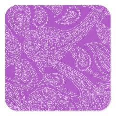 Purple Paisley Print Summer Fun Girly Pattern Stickers