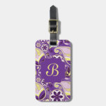 Purple Paisley Smooth Gradient Background Tag For Bags