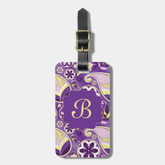 Purple Paisley Smooth Gradient Background Luggage Tag