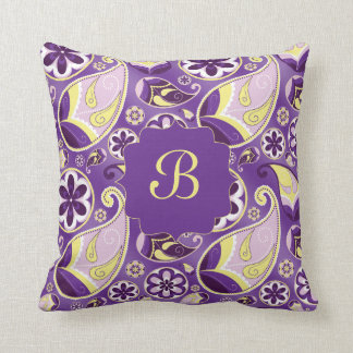 Purple Paisley Smooth Gradient Background Throw Pillows