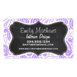 Purple Paisley Vintage Chalkboard look Business Cards