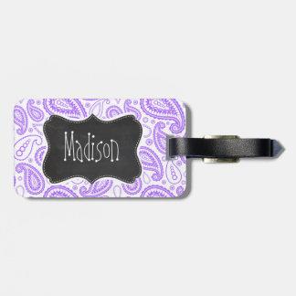 Purple Paisley Vintage Chalkboard look Luggage Tag