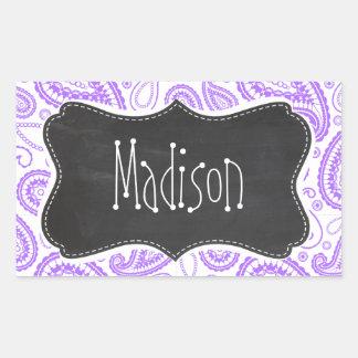 Purple Paisley Vintage Chalkboard look Rectangular Sticker