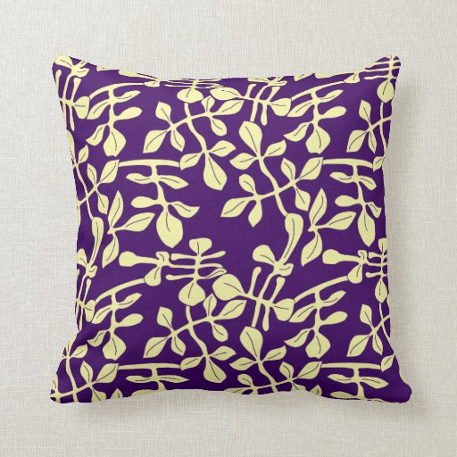 Purple & Pale Yellow Leaf Design Throw Pillow Zazzle
