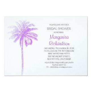 purple palm tree beach bridal shower invitations