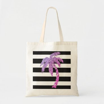 Beach Themed Purple Palm Tree Black White Stripes Tote Bag