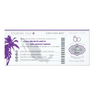 Purple Palm Tree Mexico Boarding Pass Wedding Card