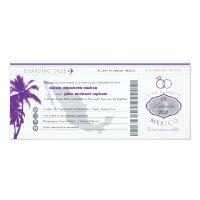 Purple Palm Tree Mexico Boarding Pass Wedding Invitation