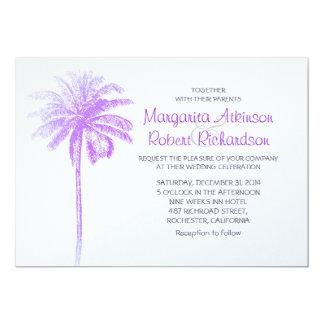 purple palm tree white beach wedding invitations