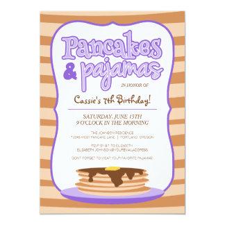 Purple Pancakes and Pajamas Birthday Party 5x7 Paper Invitation Card