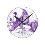 Purple Panda Bear Round Wall Clock