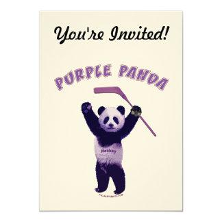 Purple Panda Hockey Bear 5x7 Paper Invitation Card