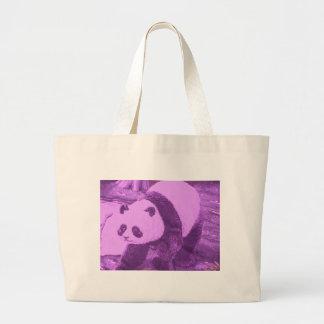 purple panda large tote bag
