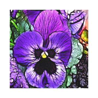 Purple Pansie Wrapped Canvas