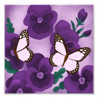 Purple Pansies and Butterflies Photo Print