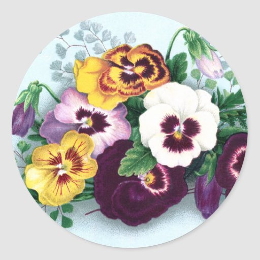Purple Pansies and Delicate Ferns Stickers
