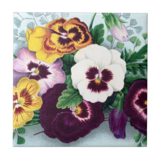 Purple Pansies and Delicate Ferns Tile