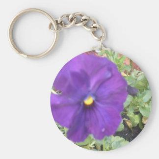 purple pansies basic round button keychain