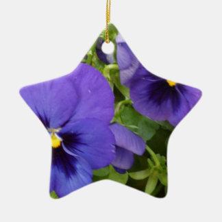 Purple Pansies Ceramic Ornament
