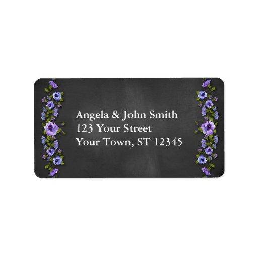 Purple Pansies, Chalkboard Custom Address Label