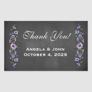 Purple Pansies, Chalkboard Rectangular Sticker