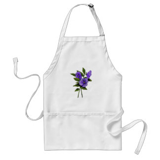 Purple Pansies: Color Pencil Floral Art: Gardener Adult Apron