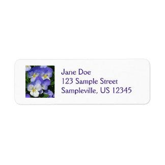 Purple Pansies Colorful Flowers Return Address Label