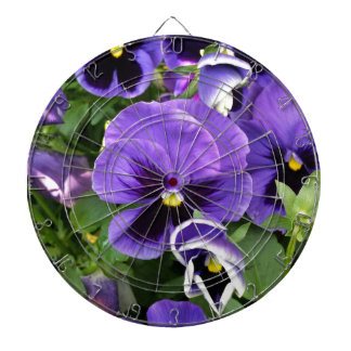 purple pansies dartboard with darts