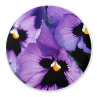 Purple Pansies Drawer Knob