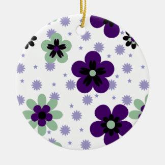 Purple Pansies Flower Ceramic Ornament